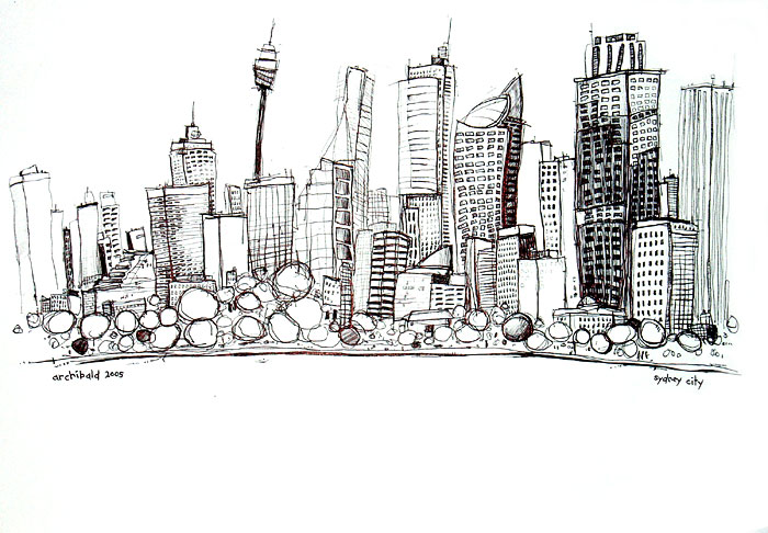 Sydney Series Sydney City pen drawing 2005