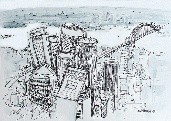 Sydney Cityscape - Pen and Ink Drawing