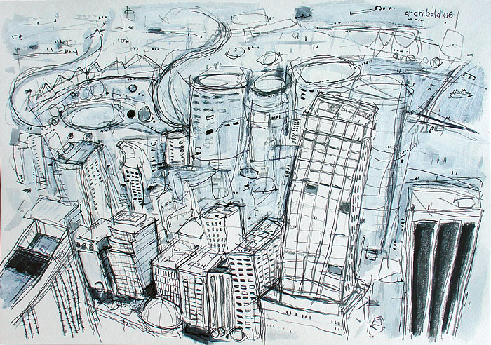 Drawing title sydney buildings artist dion archibald drawn in 2006 mixed media pencil pen ink and acrylic on 300 gsm cold pressed paper 42x29cm